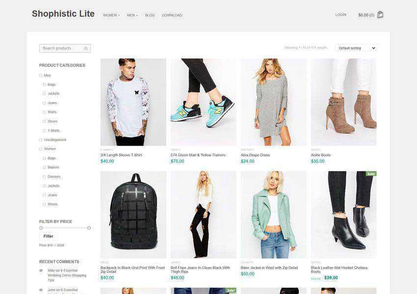 Shophistic Lite free wordpress theme wp responsive ecommerce shop woocommerce