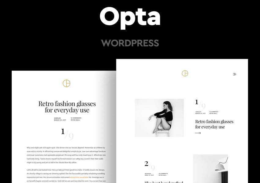 Opta Minimal wordpress theme template blog writer longform article