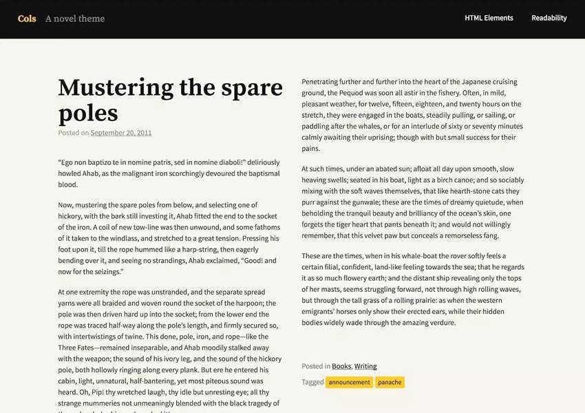 Cols Theme Telling Stories free wordpress theme wp responsive template blog writer longform article