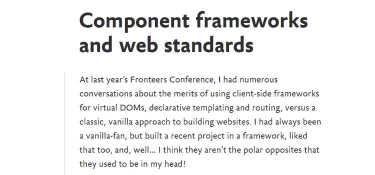 Component frameworks and web standards