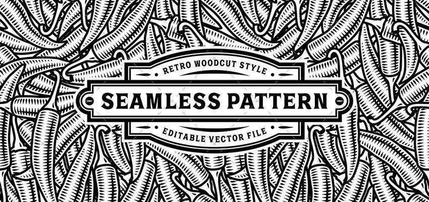 Seamless Black White Chili Pepper Pattern adobe illustrator tutorial