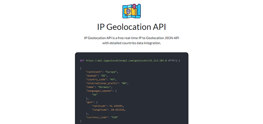 IP Geolocation API home page.