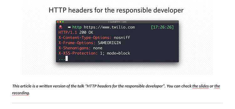 HTTP headers for the responsible developer