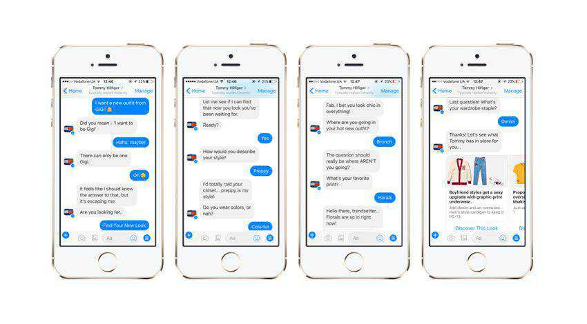 Example of chatbots in action on mobile device