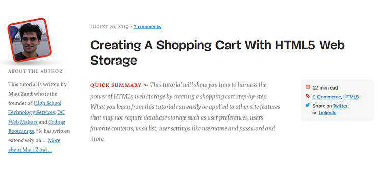 Creating A Shopping Cart With HTML5 Web Storage