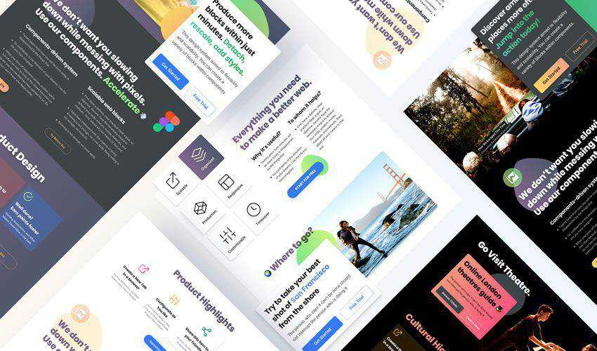 Call To Action Blocks free figma ui web layout template