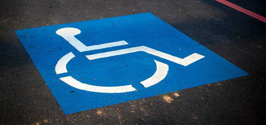 A handicap parking space.