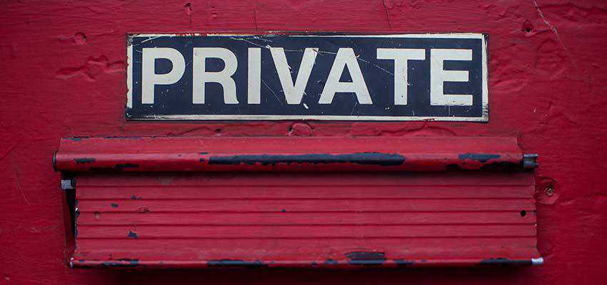 "A sign that reads ""PRIVATE""."