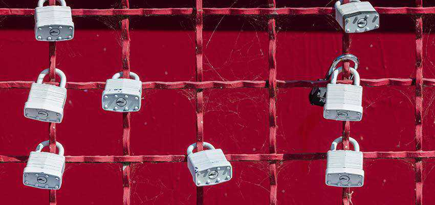 Padlocks on a fence.