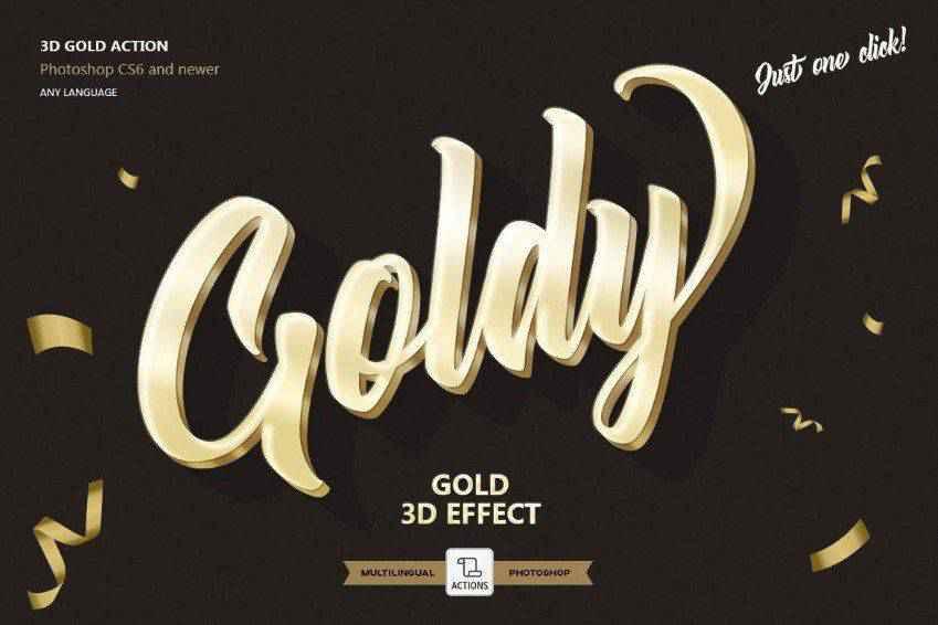 Gold 3D Text Effect Photoshop Action