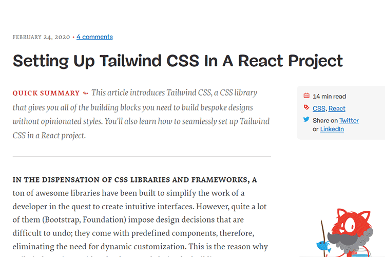 Example from Setting Up Tailwind CSS In A React Project