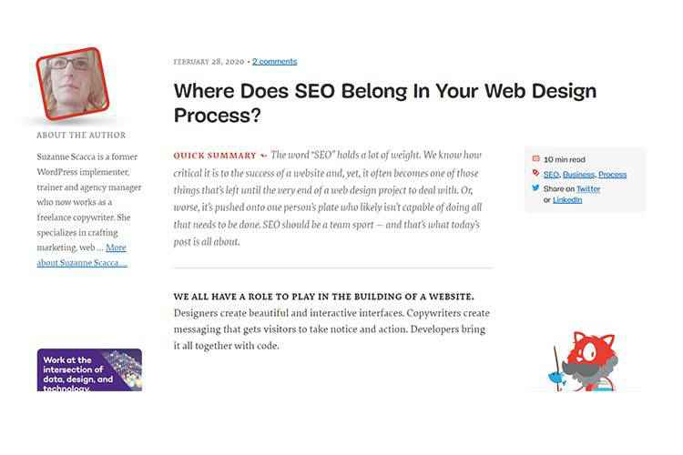Example from Where Does SEO Belong In Your Web Design Process?