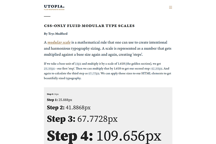 Example from CSS-only fluid modular type scales