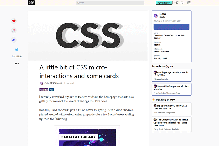 Example from A little bit of CSS micro-interactions and some cards