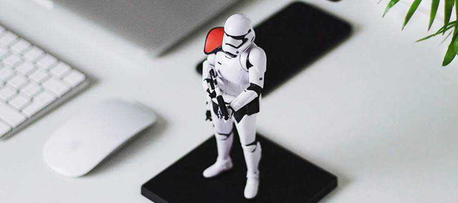 A Storm Trooper figurine.