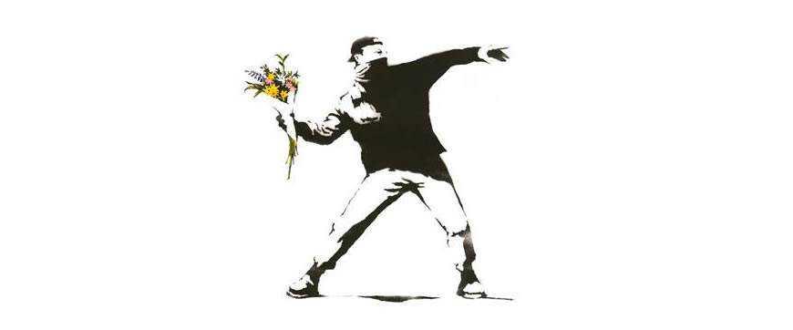 banksy illustration white background flowers