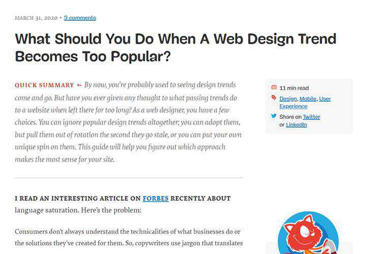 Example of What Should You Do When A Web Design Trend Becomes Too Popular?