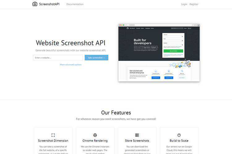 Example of Website Screenshot API