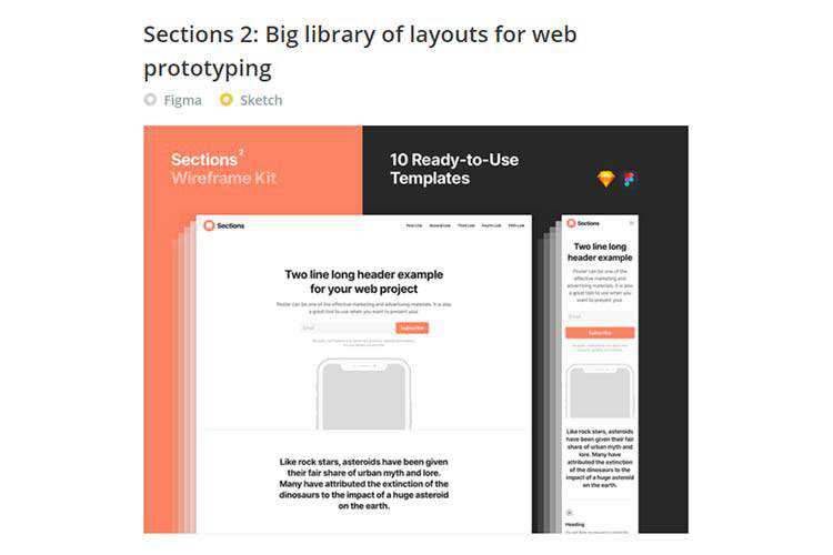 Example of Sections 2: Big library of layouts for web prototyping