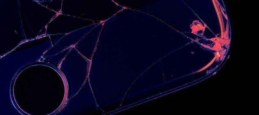 A broken cell phone.