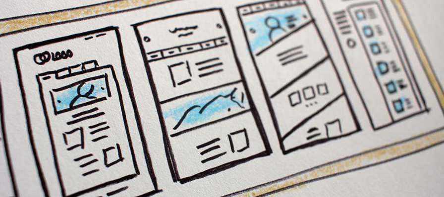 Mobile app screen sketches.