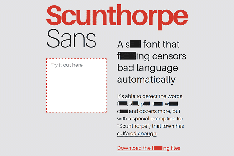 Example from Scunthorpe Sans
