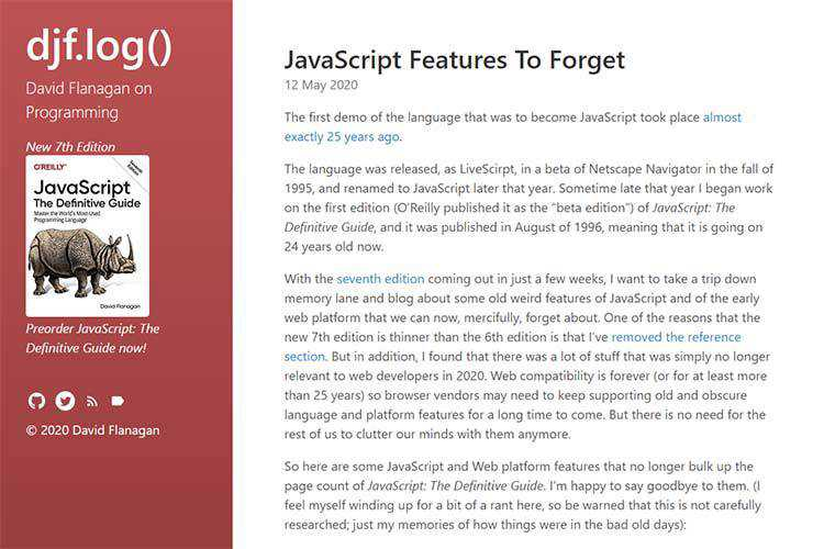 Example from JavaScript Features To Forget