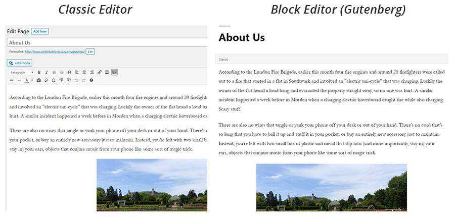 Content before and after switching to the block editor.