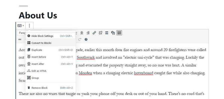 Gutenberg Conver to Blocks dialog.