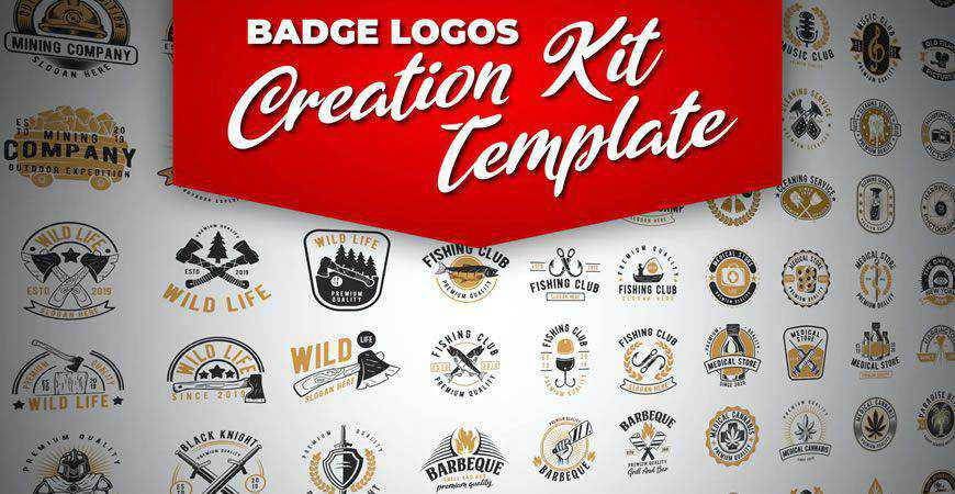 Retro Badge logo creator kit template