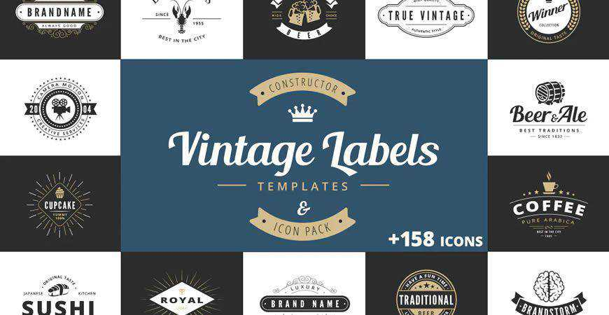 Vintage Labels logo creator kit template