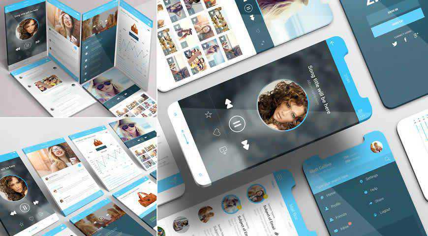 iPhone App Photoshop PSD Mockup Template