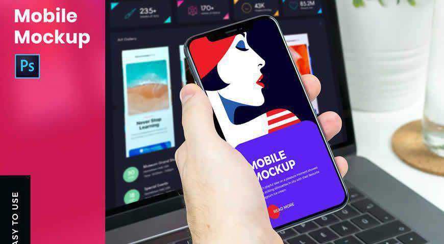 Mobile & Hand Photoshop PSD Mockup Template