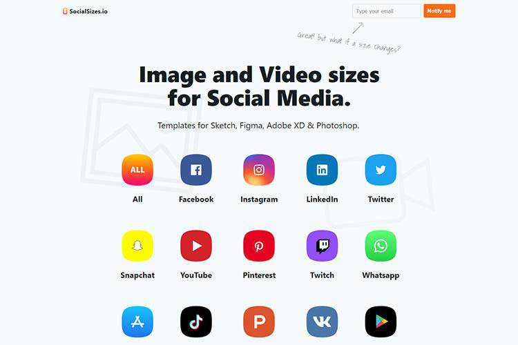 Example of SocialSizes.io