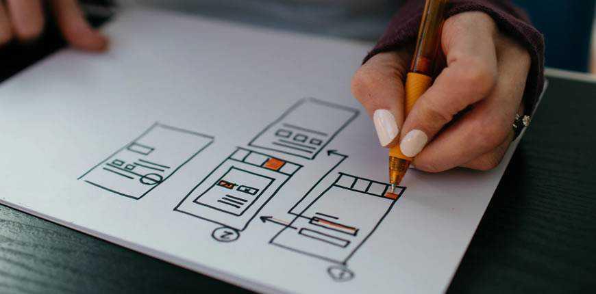 woman sketching web wireframe