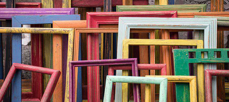 An assortment of picture frames.