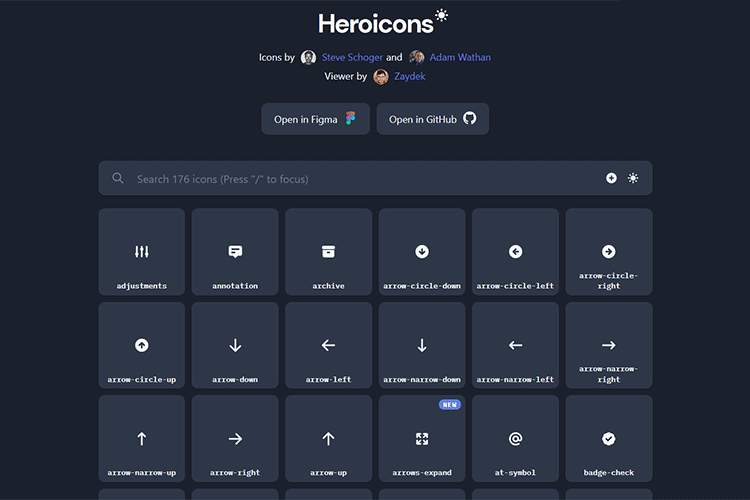 Example of Heroicons