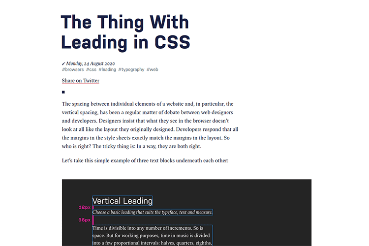 Example from The Thing With Leading in CSS
