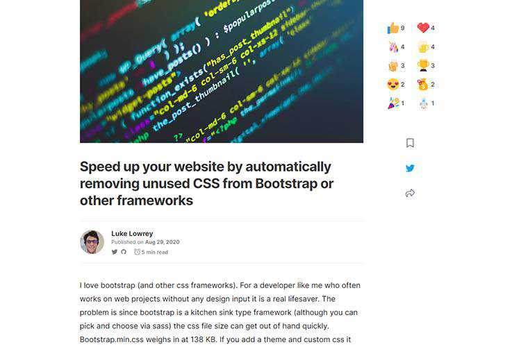 Example from Speed up your website by automatically removing unused CSS from Bootstrap or other frameworks