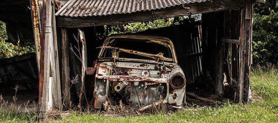A broken down automobile.
