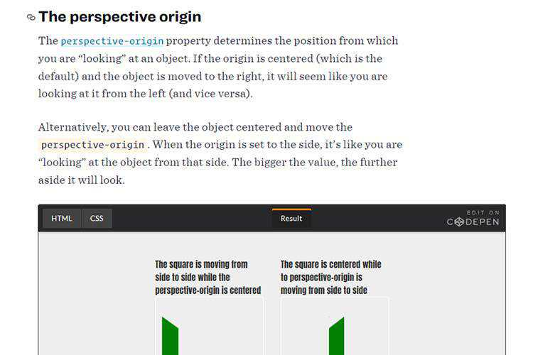 Example from How CSS Perspective Works
