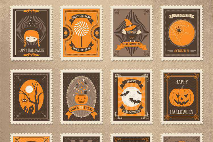Example from Freebie: Vintage Vector Halloween Stamps