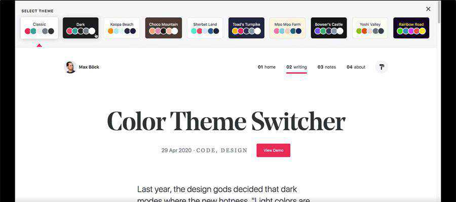 Example from Color Theme Switcher