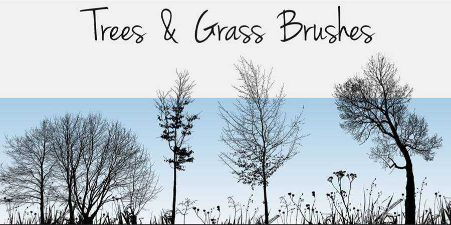 Free Photoshop Nature Silhouettes Trees & Grass Brushes there are 19 Brushes in the pack