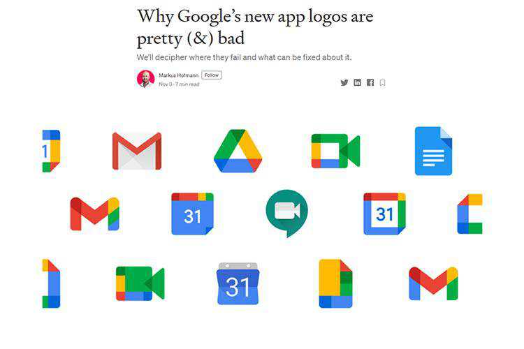 Example of Why Google's new app logos are pretty (&) bad