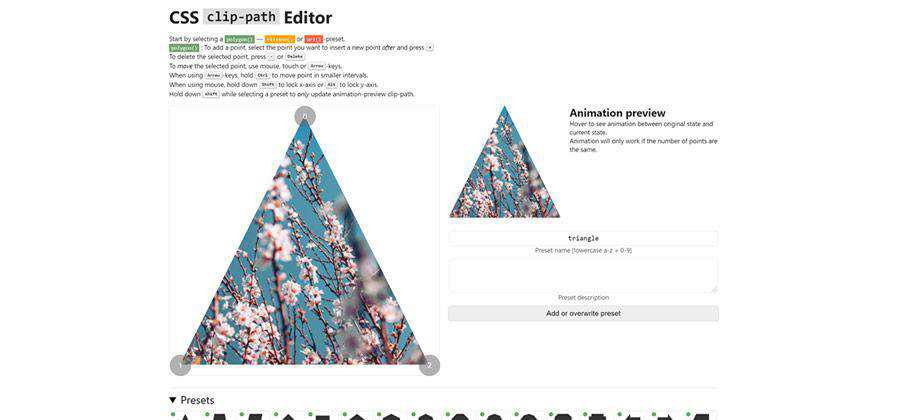 CSS clip-path Editor web-based tool free web design example