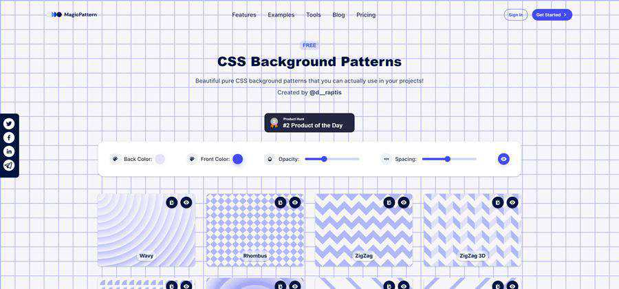 CSS Background Patterns web-based tool free web design example