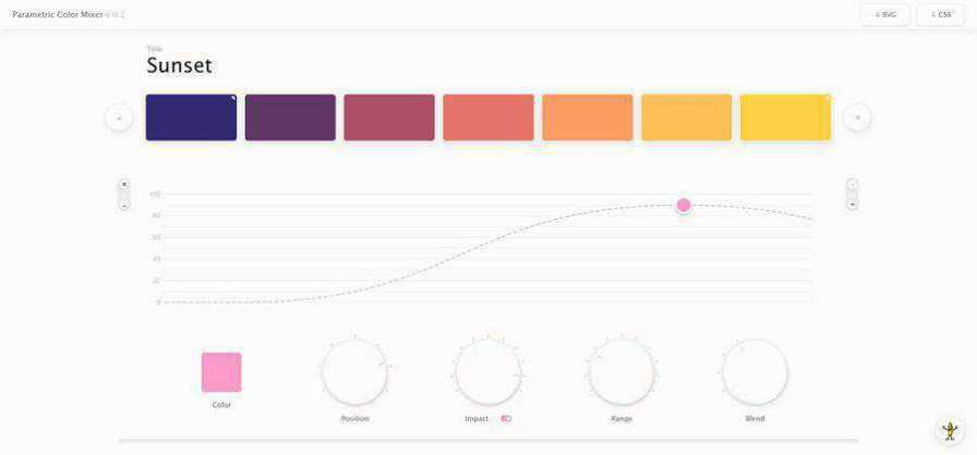 Parametric Color Mixer web-based tool free web design example