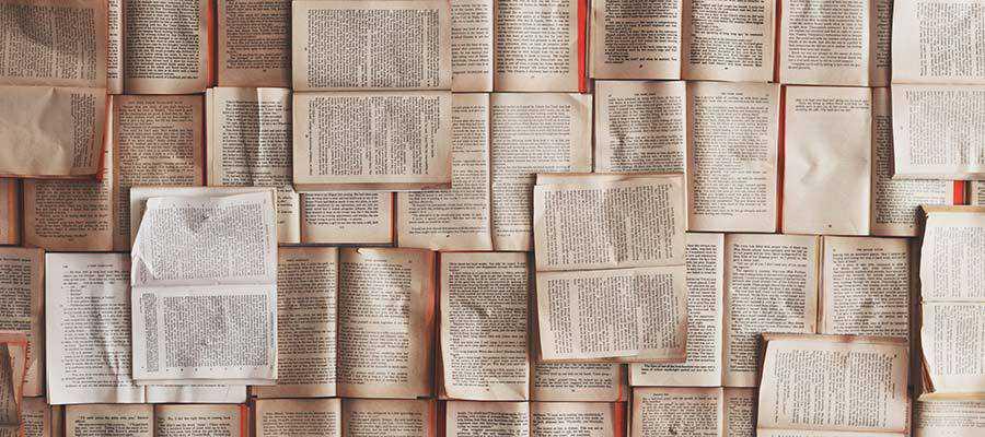 An arrangement of books.