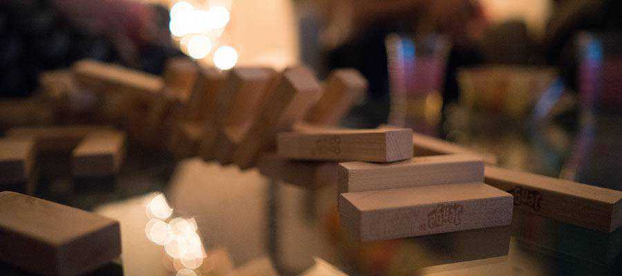 A scattering of toy blocks.